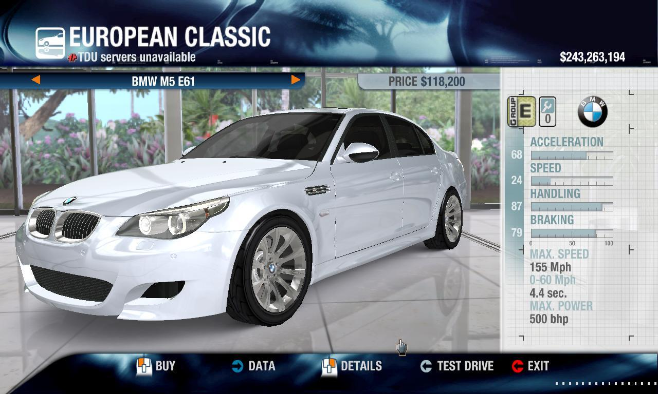 DriverTDU 2009 BMW M5 E61 and SE physics + performance packs