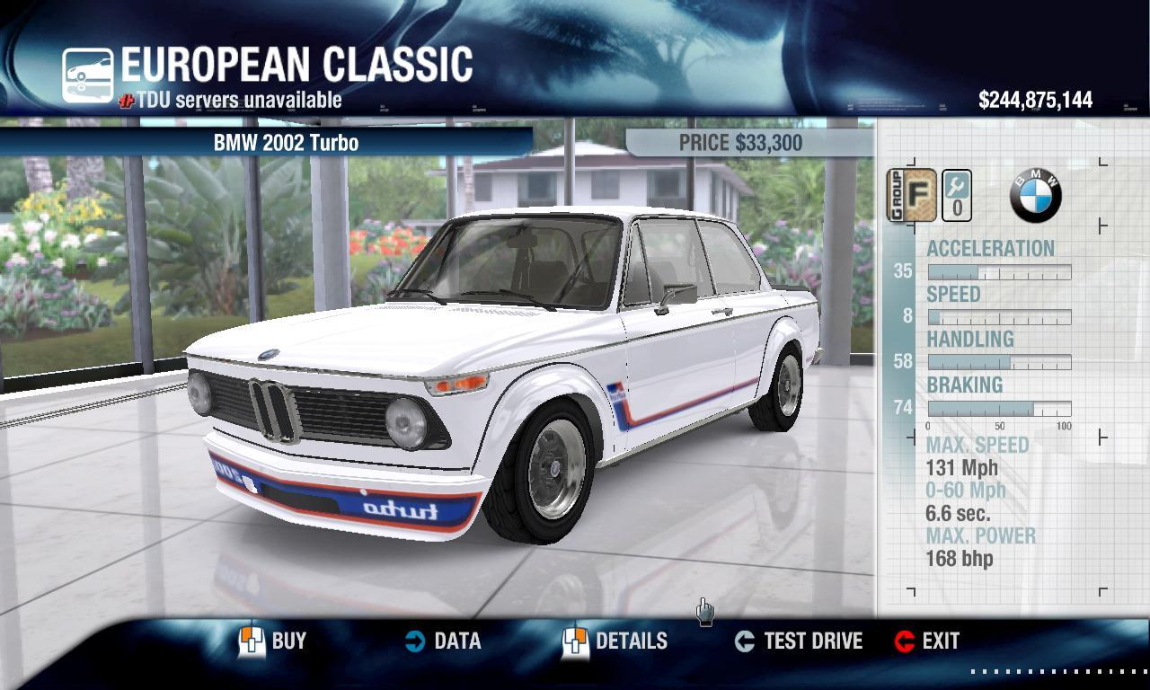 DriverTDU 1973 BMW 2002 Turbo physics + performance packs