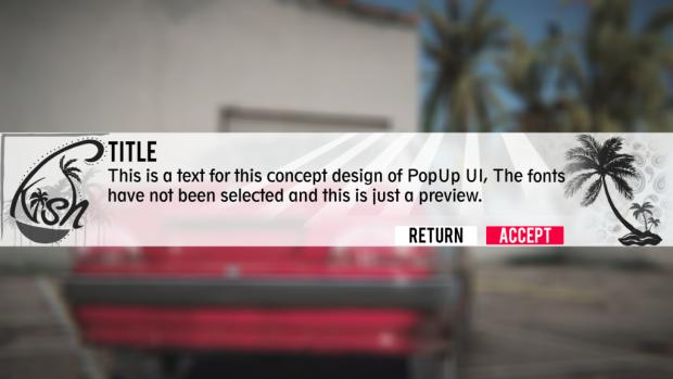 Sample pop-up UI